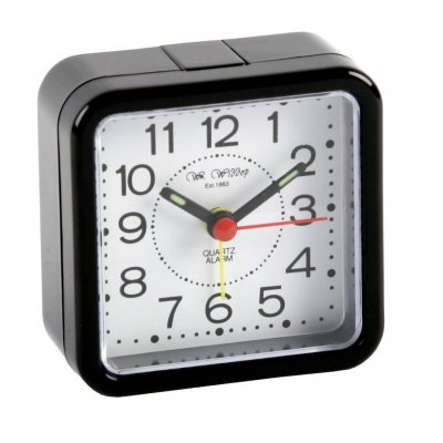Wm.Widdop Square Quartz Alarm Black